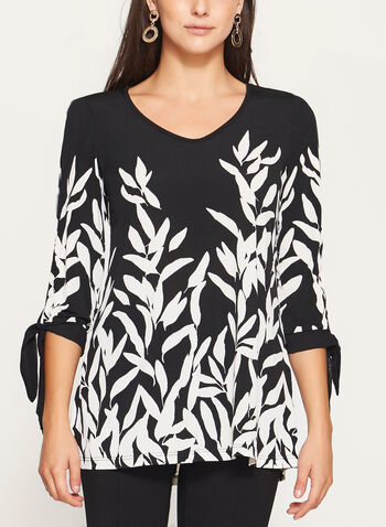 ¾ Sleeve Leafy Floral Print Tunic , Black, hi-res