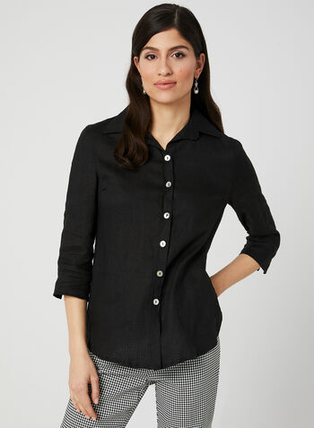 Mode de Vie - Linen Tunic Blouse, Black, hi-res