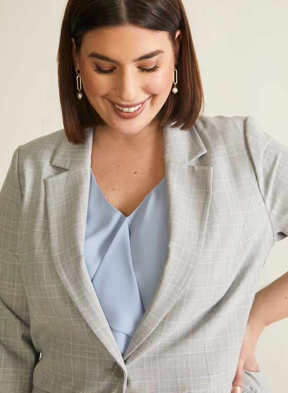 Plaid Print Suit Jacket, Grey