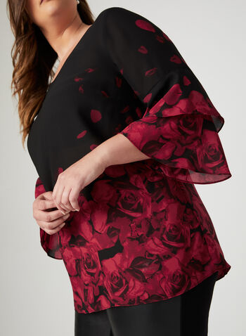 Rose Petal Print Blouse, Black, hi-res