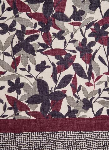 Foulard léger à fleurs et pois, Rouge,  foulard, léger, pois, fleurs, automne hiver 2019