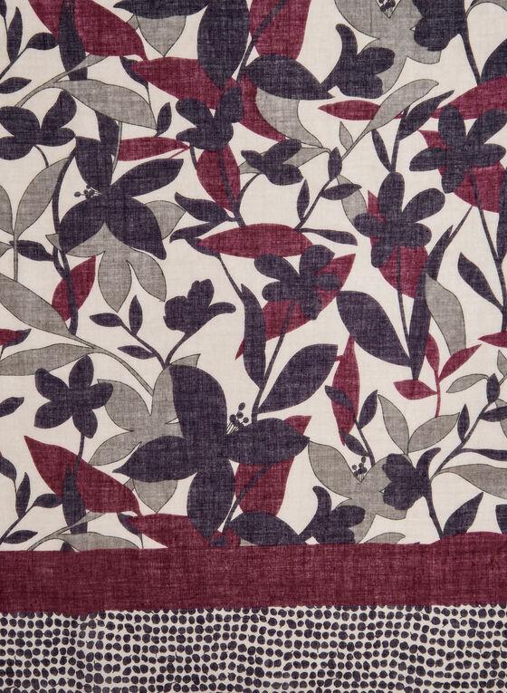 Foulard léger à fleurs et pois, Rouge