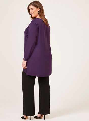 Scoop Neck Tunic With Sleeve Embellishments, Purple, hi-res