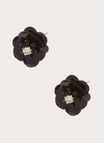 Flower Stud Earrings , Black, hi-res