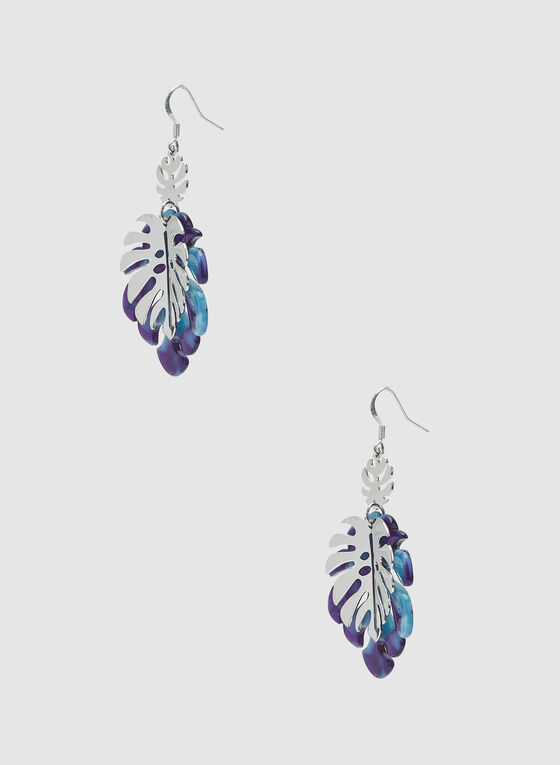 Leaf-Shaped Dangle Earrings, Blue