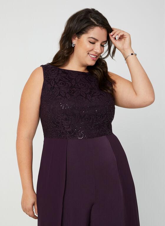 Jumpsuit With Lace & Sequins, Purple
