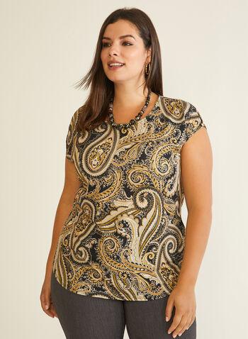 Paisley Print Cap Sleeve Top, Black,  top, short sleeves, cap sleeves, paisley, stretchy, fall winter 2020