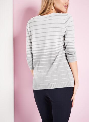 Stripe Print Knit Cardigan, , hi-res