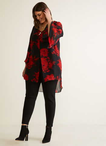 Compli K - Floral Print Tunic Blouse, Black,  Made in Canada, Fall Winter 2020, muslin, Flowers, Print, Long Sleeves