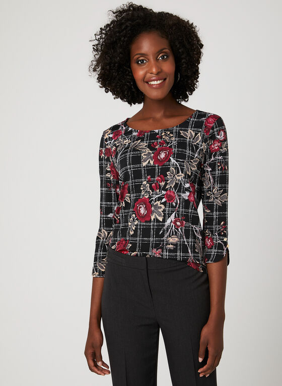Floral Plaid Print Blouse, Black, hi-res