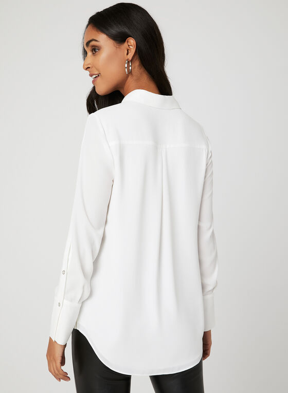 Long Sleeve Button Down Blouse, Off White