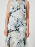 Floral Print Tiered Dress, White, hi-res