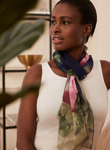 Floral Print Lightweight Scarf, Blue,  scarf, lightweight, silk, oblong, floral, rose, spring summer 2021