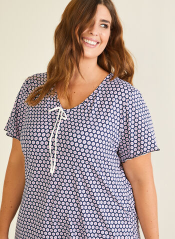 Chemise de nuit motif pois, Bleu,  pyjama, chemise de nuit, manches courtes, pois, lien, col v, automne hiver 2020