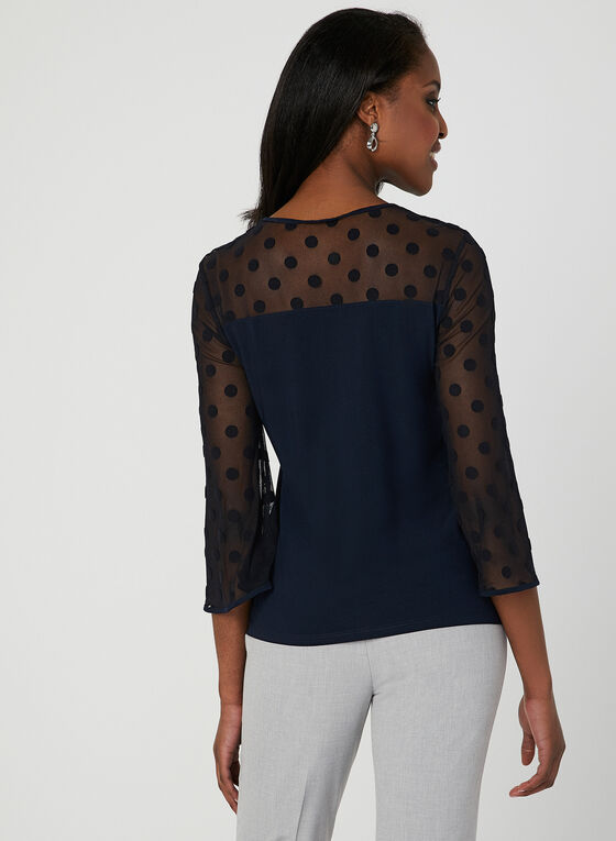 Polka Dot Mesh Top, Blue, hi-res