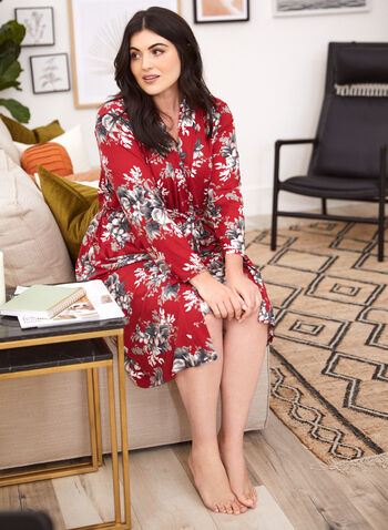 Floral Robe & Nightgown Set, Red,  fall winter 2021, made in Canada, sleepwear, loungewear, lounge, robe, nightgown, sleep, floral, print, flower, comfort,