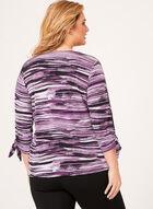Haut à motif abstrait et manches ¾ ajourées, Violet, hi-res