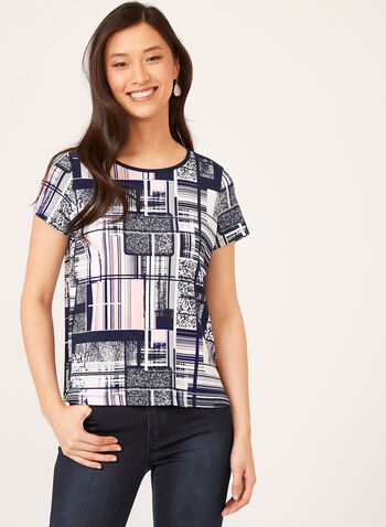 Cap Sleeve Back Button Detail Abstract Print Blouse, Blue, hi-res