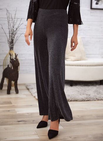 Metallic Wide Leg Pants, Black,  fall winter 2020, pants, wide leg, metallic