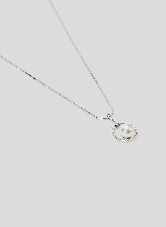 Boucles d'oreilles à pendants perlés, Blanc cassé, hi-res