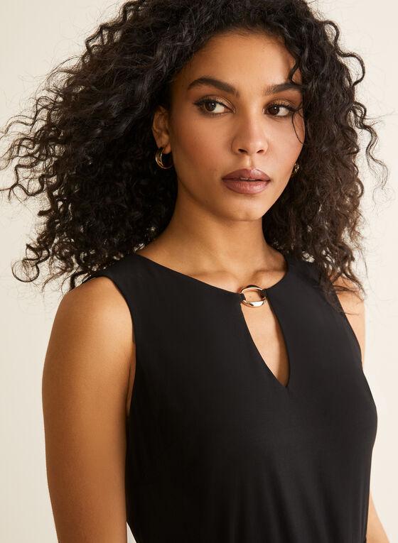 Sleeveless Scarf Print Dress, Black