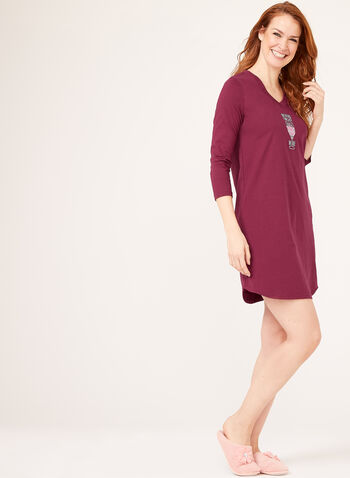 Pillow Talk - 3/4 Sleeve Cotton Nightshirt, Red, hi-res