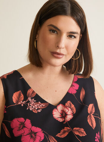 Floral Print Sleeveless Blouse, Black,  top, blouse, sleeveless, floral, crepe, layered, v-neck, spring summer 2020
