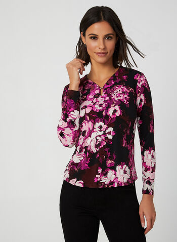 Floral Print Jersey Top, Black,  Canada, jersey, floral, long sleeves, top, fall 2019, winter 2019