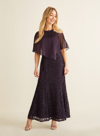 Sequin & Rhinestone Poncho Dress, Purple,  dress, evening, occasion, crochet, lace, sequins, rhinestones, poncho, chiffon, sleeveless, spring summer 2020