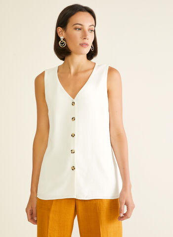 Sleeveless Button Front Blouse, Off White,  blouse, sleeveless, button front, crepe, v-neck, spring summer 2020