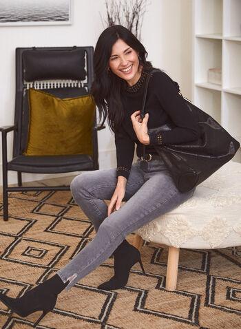 Rhinestone Detail Sweater, Black,  sweater, rhinestone, stretchy, long sleeves, fall winter 2020