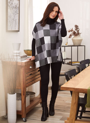 Checkered Print Turtleneck Poncho, Black,  fall 2021, sweater, cardigan, shirt, top, poncho, knit, comfy, cozy, fabric, turtleneck, mock neck, long sleeves, hemline, slit, checkered, print, pattern, grid