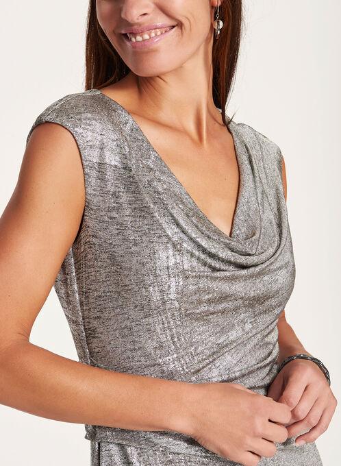 Metallic Draped Sheath Dress , Silver, hi-res