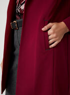 Long Notched Lapel Collar Blazer, Red