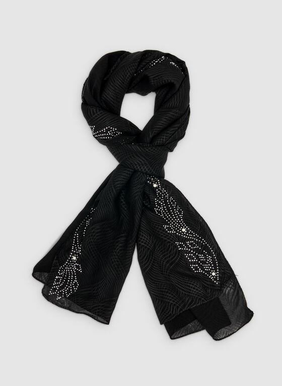 Embellished Scarf, Black, hi-res