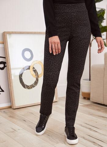 Leopard Print Pull-On Pants, Brown,  fall 2021, pants, pant, pull on, slim leg, elastic, waist, high rise, leopard print, comfy, stretchy, fabric