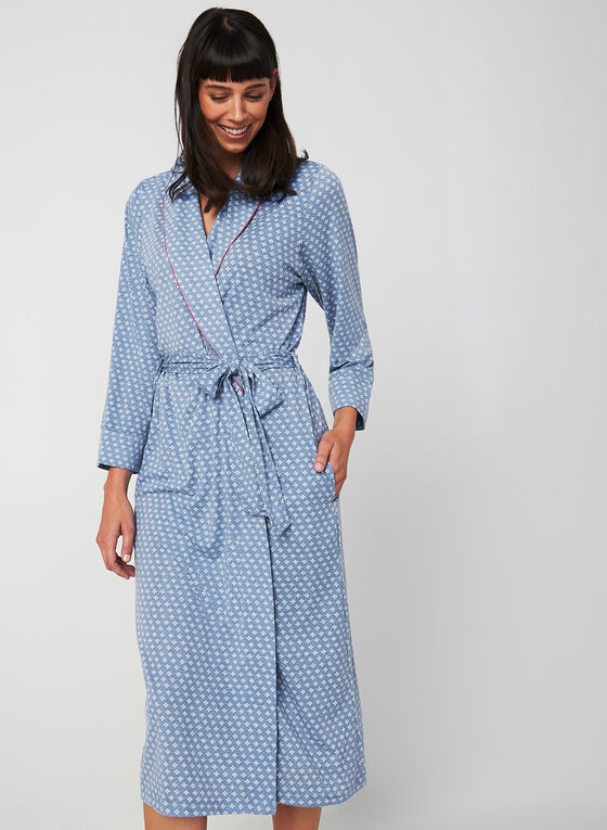 Claudel Lingerie - Printed Bathrobe, Blue, hi-res