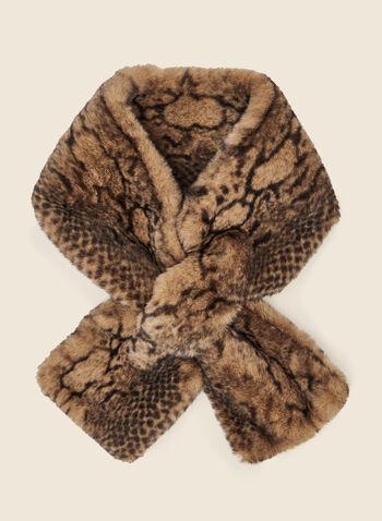 Animal Print Pull-Through Scarf, Brown,  scarf, pull through, slip through, animal print, fall winter 2020