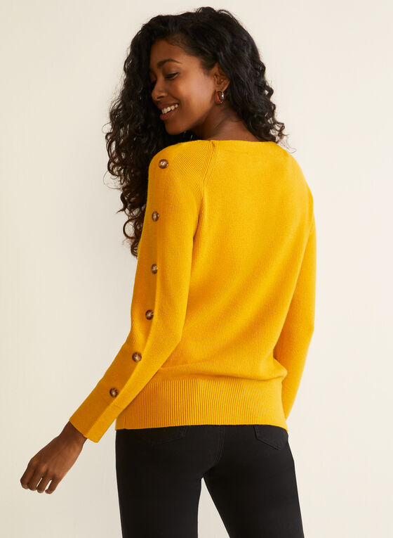 Button Detail Knit Sweater, Yellow