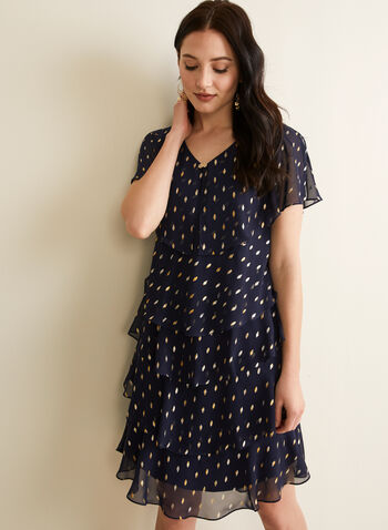 Tiered Chiffon Dress, Blue,  dress, short sleeves, v-neck, abstract, chiffon, tiered, stretchy, jersey, cape, spring summer 2020