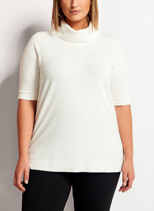 Short Sleeve Cowl Neck Sweater, Off White, hi-res