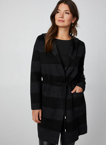 Wide Stripe Knit Cardigan, Black, hi-res,  cardigan, knit, stripes, drawstring, long sleeves, fall 2019, winter 2019