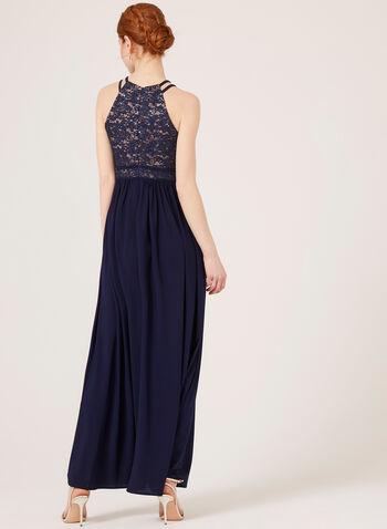 Sequin Lace Halter Top Gown, Blue, hi-res