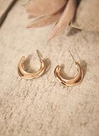 Geometric C Hoop Earrings, Beige