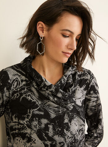 Open Cowl Neck Top, Black,  Canada, top, abstract, long sleeves, cowl neck, jacquard, fall 2019, winter 2019