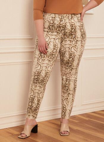 Jeans étroit motif serpent, Blanc cassé,  jeans, étroit, poches, serpent, printemps été 2020