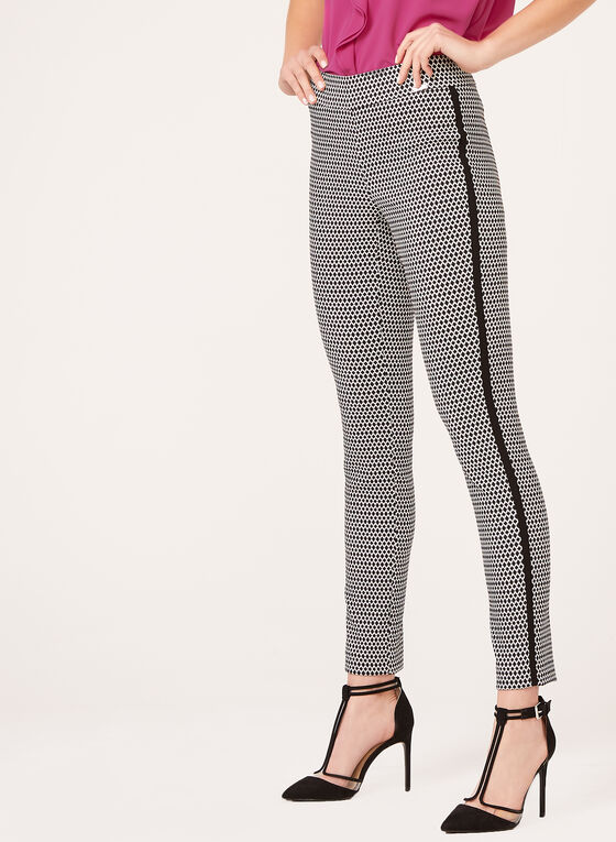 Pull-On Slim Leg Houndstooth Pants, Black, hi-res