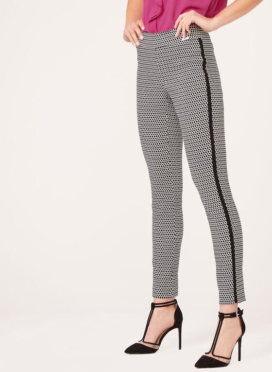 Pantalon pull-on à motif jacquard contrastant, Noir, hi-res