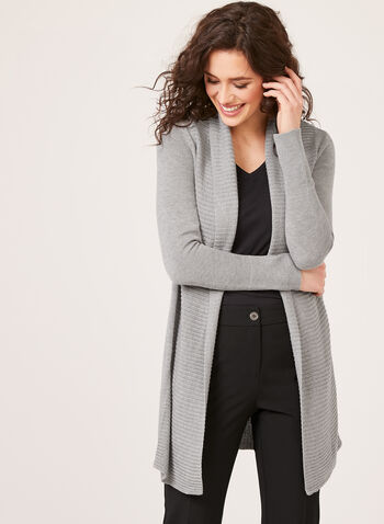 Open Front Shawl Neck Cardigan, , hi-res