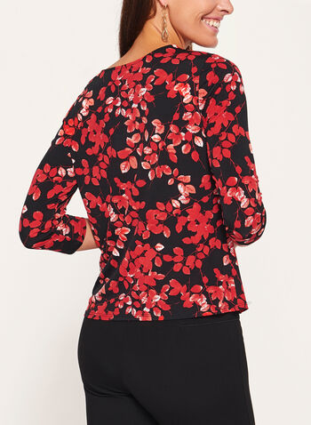 Leaf Print 3/4 Sleeve Top, Black, hi-res